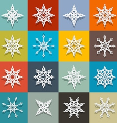 Retro Paper Snowflakes Set vector image