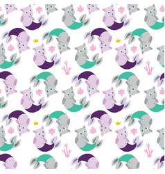 seamless background with cat mermaids funny vector image
