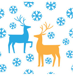 seamless pattern deers and snow happy new year vector image