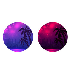 set of round banner with evening of a city beach vector image