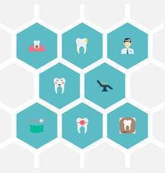 set of tooth icons flat style symbols with vector image