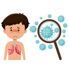 Sick boy from coronavirus with zoom up cells vector