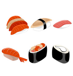 six pieces of sushi vector image