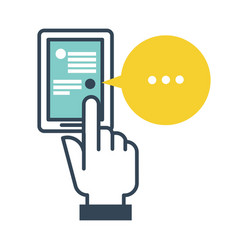 smartphone with opened chat messages person with vector image