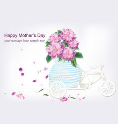Spring delicate flowers bouquet in a bicycle vector