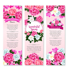 spring holidays floral greeting banner set vector image