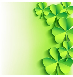 St Patricks day background with green leaf clover vector image vector image