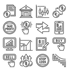 stock market exchange and finance trading icons vector image