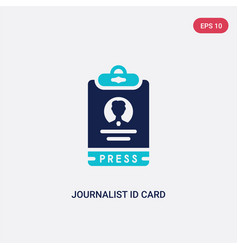 Two color journalist id card icon from business vector