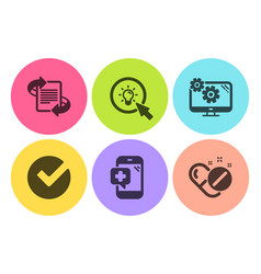 Verify marketing and settings icons set medical vector