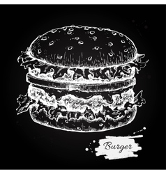 Vintage burger chalkboard drawing Hand vector