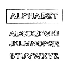 Vintage rubber stamp outline font alphabet vector