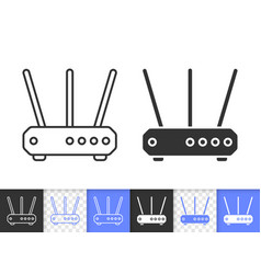 Wi-fi router simple black line icon vector