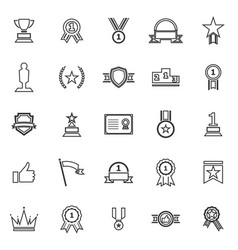 winner line icons on white background vector image