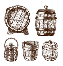 wooden barrel vintage old hand drawn sketch vector image