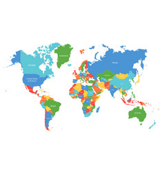 World map colorful world map with countries vector