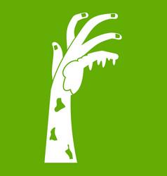 zombie hand icon green vector image