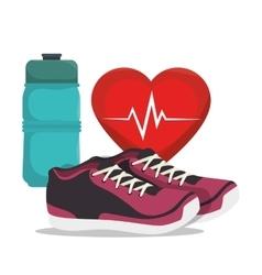 cartoon sneakers fitness sport elements design vector image