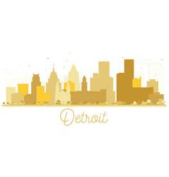 detroit usa city skyline golden silhouette vector image