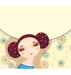 Girl Face Flower Card vector image vector image