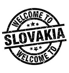 welcome to slovakia black stamp vector image vector image