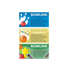 colorful bowling horizontal banners vector image vector image