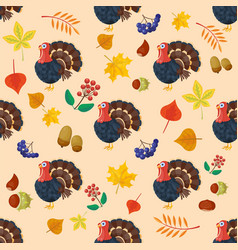 colorful cartoon icons for thanksgiving day vector image