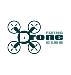 drone icon drone flying club text vector image vector image