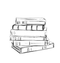 hand drawing a pile of books sketching vector image