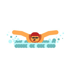 young swimmer breathes in air before submerging in vector image