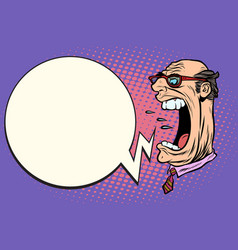 angry boss screaming the giant head vector image