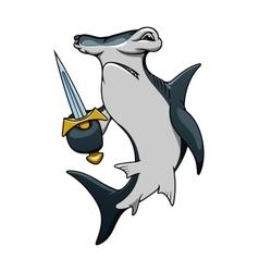 Cartoon hammerhead shark pirate with sword vector image vector image