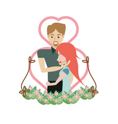 couple embracing love heart floral vector image