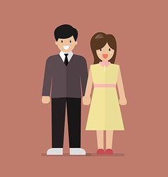 Couple of young people in flat style vector