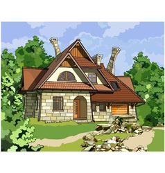 fabulous stone house vector image