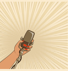 female hand with retro microphone vector image vector image