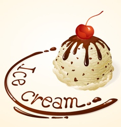 Ice cream ball Vanilla Chocolate chip vector image