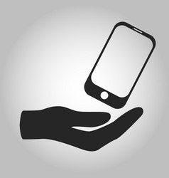 icon hand holding smartphone isolated vector image vector image