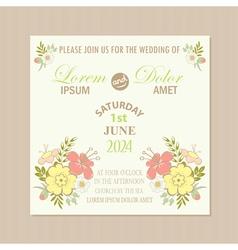 Spring floral wedding invitation card vector
