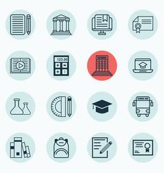 set of 16 education icons includes transport vector image