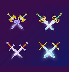 Set of crossed medieval swords vector