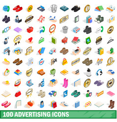 100 advertising icons set isometric 3d style vector