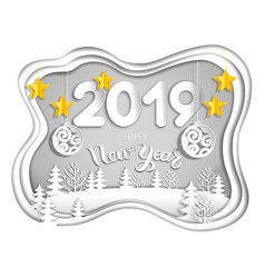 2019 new year postcard from layers of paper vector image