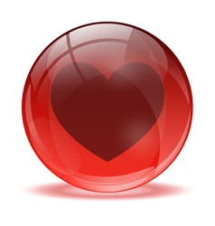 3D glass sphere and heart icon vector image