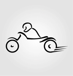 A biker on a motorbike with abstract lines vector image