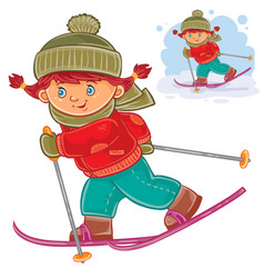 a little girl skiing vector image