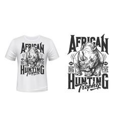 african rhino hunting t-shirt print mockup vector image