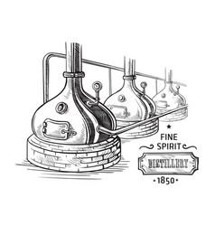 alembic still for making alcohol inside distillery vector image