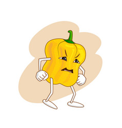 Angry emotional vegetable in cartoon style with vector