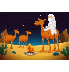 Arab and camel vector